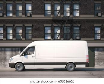 White industrial van on the street with dark building. 3d rendering