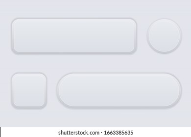 White interface buttons. Blank icons. Illustration. Raster version