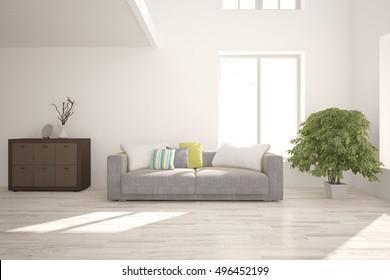 White interior design. 3D illustration