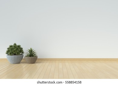 White interior design with plants on a floor,3D rendering
