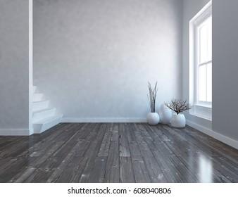 white interior design with stairs. Scandinavian interior design. 3d illustration