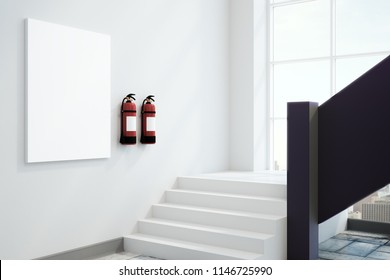 White interior with empty poster and fire extinguishers. Safety announcement and equipment concept. Mock up, 3D Rendering