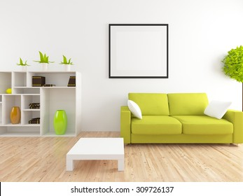 white interior of a living room. 3d rendering
