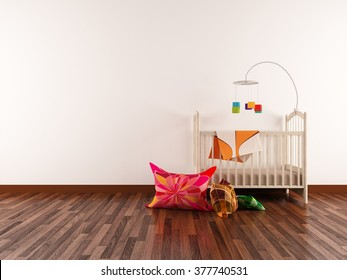 white interior of a nursery. 3d concept