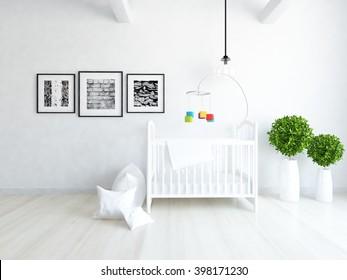 White interior of a nursery. 3d illustration