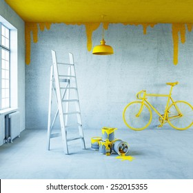 white interior with painted ceiling.3d concept