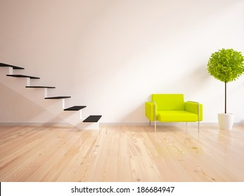 white interior with stairs