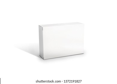 White isolatate horizontal box MockUp packiging. Box on the white background. Product 3D