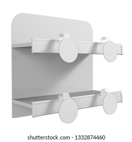 White Isolated Shelf. Dangler Attached To Shelf. 3D rendering