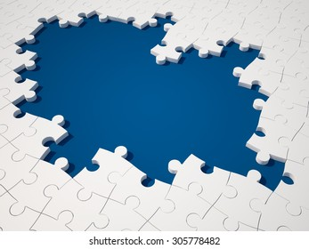 White Jigsaw pieces on Blue Background. High Quality 3D Render