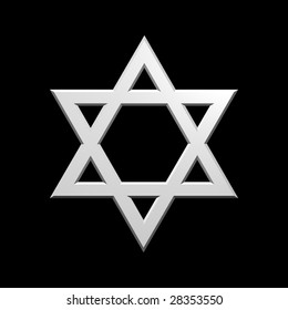 White Judaism religious symbol - star of david isolated on black.  Computer generated 3D photo rendering.