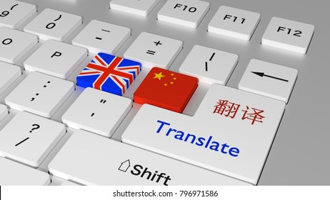 White keyboard with a british and chinese flag key and the word translate and the chinese characters for translate on the enter key 3D illustration