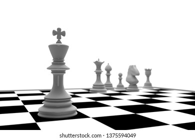 white king in chess game with chess board on white background (Leadership concert) , 3D rendering illustration