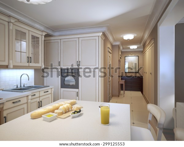White Kitchen Art Deco Style Design Stock Illustration 299125553