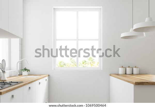 White Kitchen Corner Wooden Floor Large Stock Illustration 1069500464
