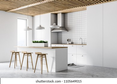 White kitchen interior with white countertops, and a tiled wall. A bar with stools. Side view. 3d rendering mock up