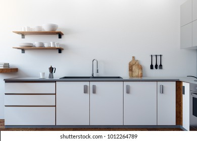 White kitchen interior with equipment and furniture. Style and design concept. 3D Rendering