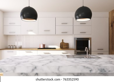 White kitchen interior with large windows, a white marble table and a white marble countertop with a sink. 3d rendering