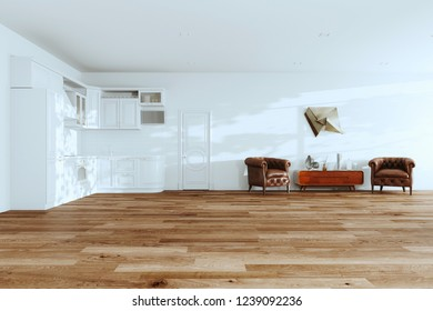 White Kitchen Interior with Leather Vintage Armchairs, Wooden Mid Century stand and Hardwood Floors in New Luxury Home 3d render