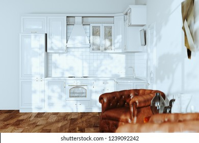 White Kitchen Interior with Leather Vintage Armchairs and Hardwood Floors in New Luxury Home 3d render