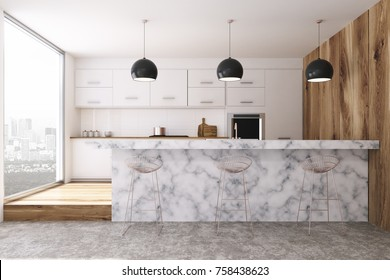 White kitchen interior with panoramic windows, a concrete floor and a marble bar stand. 3d rendering