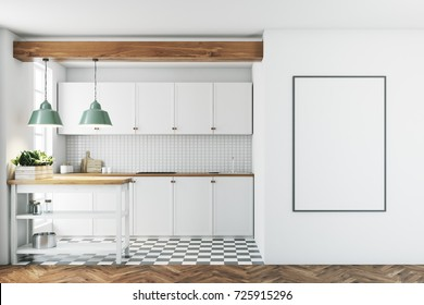 White kitchen interior with a tiled wall and floor, countertops and a small table with jars and a framed poster on a wall. 3d rendering mock up