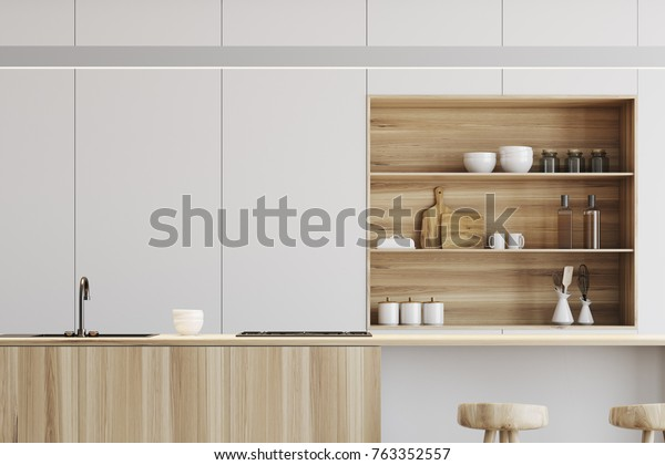 White Kitchen Interior Wooden Floor Light Stock Illustration 763352557