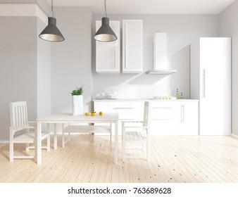 White kitchen room interior. 3d illustration