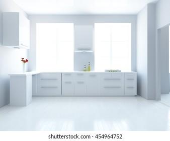 white kitchen room. kitchen interior. Scandinavian interior. 3d illustration