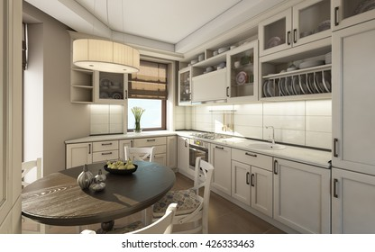 White Kitchen with Round Table 3d rendering