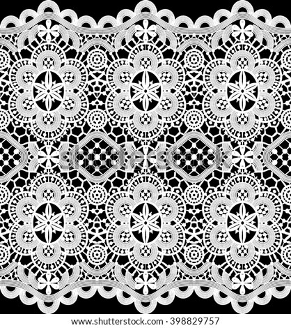 White Lace Crochet Pattern On Transparent Stock Illustration