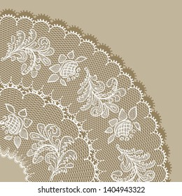 White lace design background, ornamental flowers circle Abstract ,  isolated on beige.  Lace Doily. Floral background  raster illustration