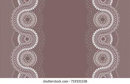 White lace pattern with a space for the text. Vertical seamless pattern. Lace background.