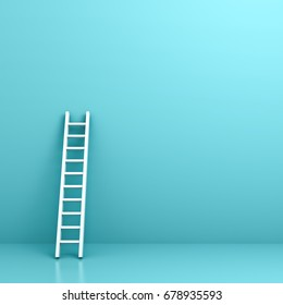 White ladder on light blue wall background with reflection and shadow . 3D rendering.