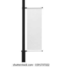White Lamp Post Banner Mockup, 3d Rendered Isolated on White Background