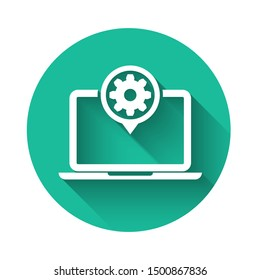 White Laptop and gear icon isolated with long shadow. Laptop service concept. Adjusting app, setting options, maintenance, repair, fixing. Green circle button