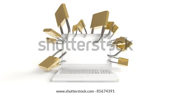 White laptop with many padlocks on white background