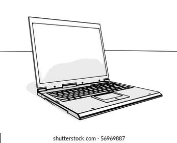 white laptop - sketch version