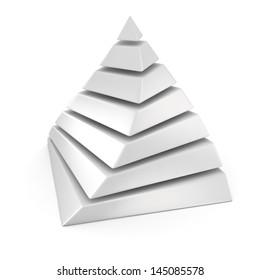 White layered pyramid on the white background