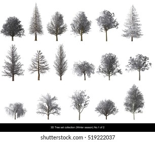 White leaf Snow Tree Winter season set for architecture landscape design, 3D Tree isolated on white No.1