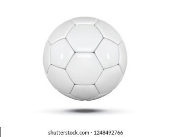 White leather ball. Soccer ball on white background. Football 3d ball.