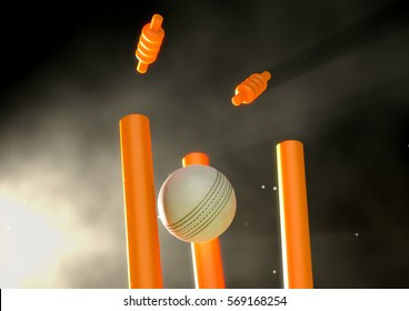 A white leather cricket ball hitting luminous orange cricket wickets on a night sky background - 3D render