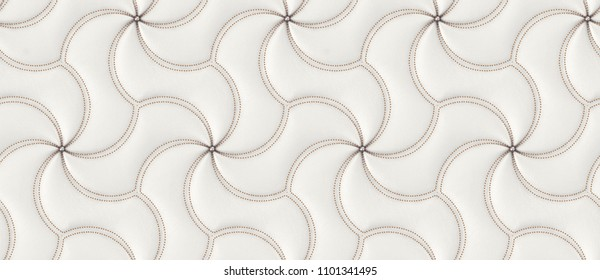 White leather luxury 3d tiles with gold decor neils and buttons. High quality seamless realistic texture.