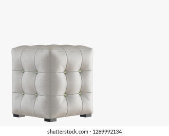 White leather pouf capitone 3d rendering