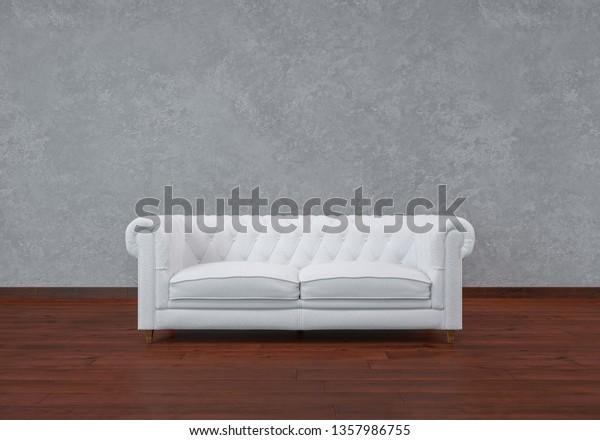 Strange White Leather Sofa Wooden Floors Concrete Stock Illustration Pdpeps Interior Chair Design Pdpepsorg