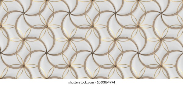 White leather tiles with gold decor classic design 3d wallpaper. High quality seamless realistic texture.