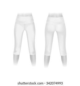 White Leggings Pants Isolated on White Background
