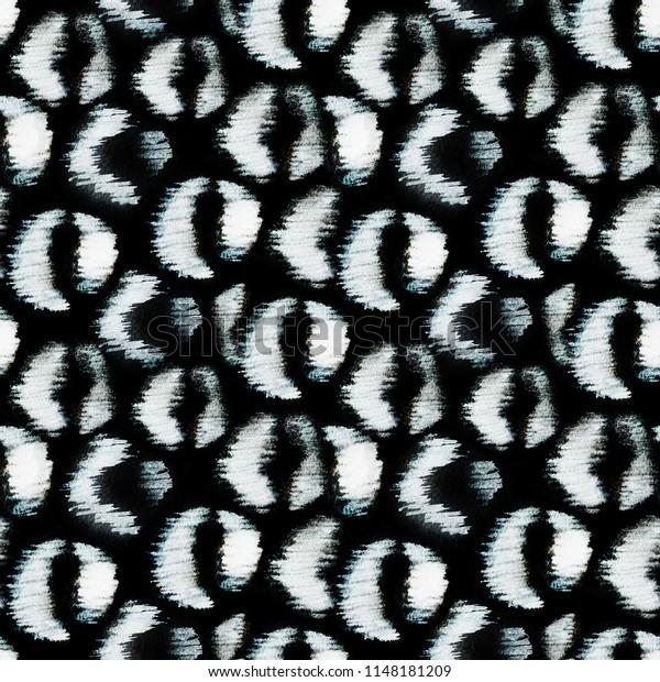 White leopard spots on black background. Inverse jaguar print. Raster hand painted monochrome texture
