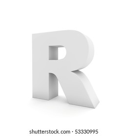 white letter R isolated on white