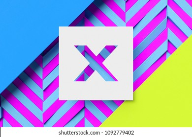 White Letter X on Cyan and Lime Color Background With Stripes. 3D Illustration of Letter X on Abstract Background.